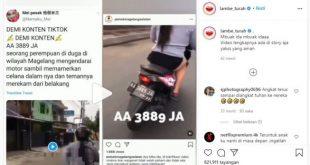 Perempuan Pamer Celana Dalam Saat Naik Motor Jadi Buruan Polisi